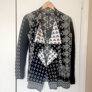 Lucky Brand Boho Knit Draped Black Cardigan XS